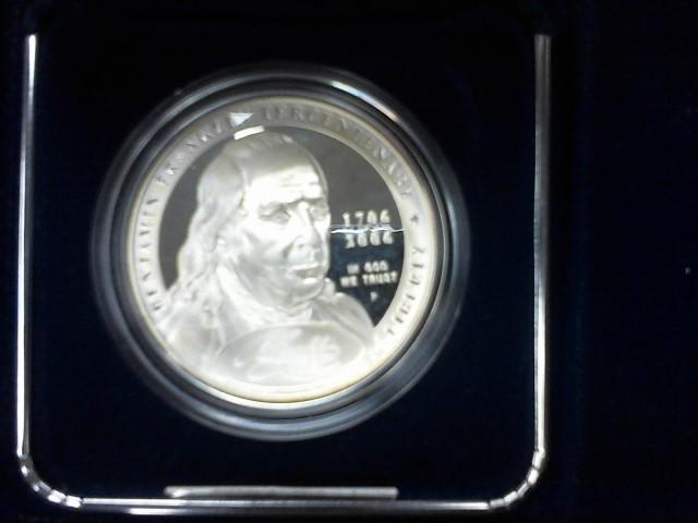 UNITED STATES Silver Coin BENJAMIN FRANKLIN TERCENTENARY