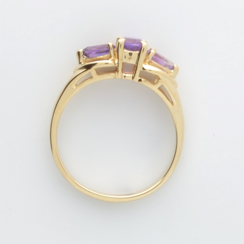ESTATE AMETHYST PURPLE RING SOLID 10K YELLOW GOLD OVAL CUT SIZE 6