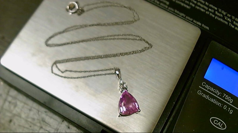 Pink Stone Diamond & Stone Necklace 3 Diamonds .03 Carat T.W. 10K White Gold 2g