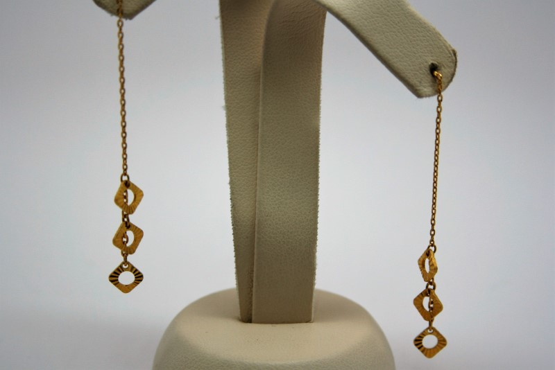 DANGLE STYLE 22K YELLOW GOLD EARRINGS