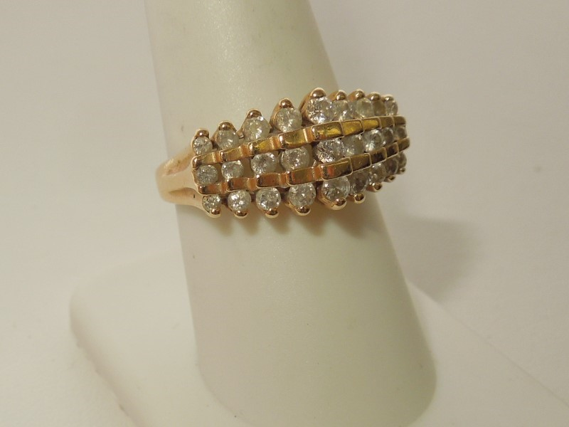 Lady's Diamond Cluster Ring 27 Diamonds .75 Carat T.W. 10K Yellow Gold 4.2g