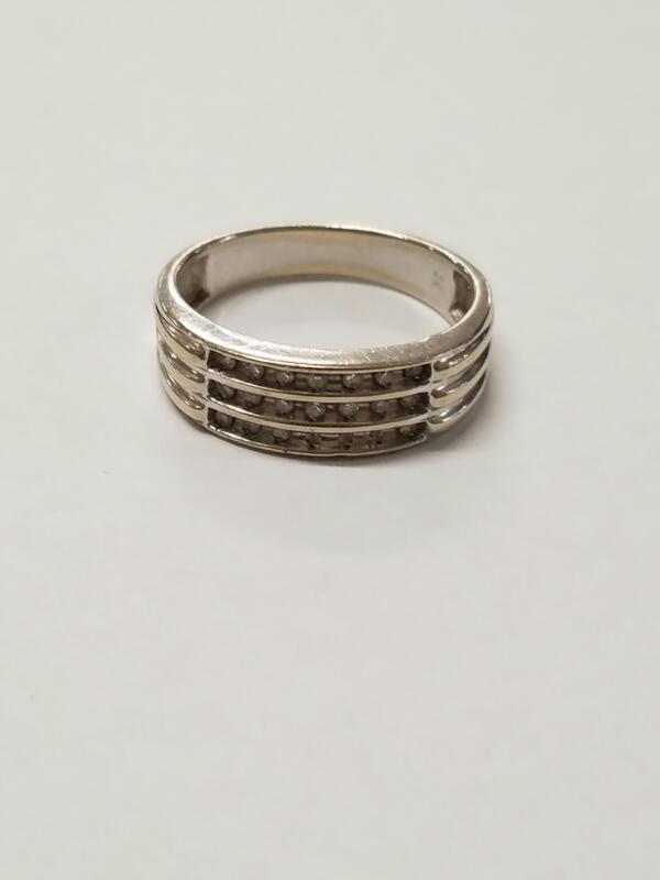 Gent's Diamond Fashion Ring 18 Diamonds .18 Carat T.W. 10K White Gold 4.7g