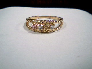 Pink Stone Lady's Stone Ring 14K Yellow Gold 3.3g Size:9