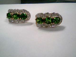 Synthetic Peridot Gold-Diamond & Stone Earrings 30 Diamonds .60 Carat T.W.