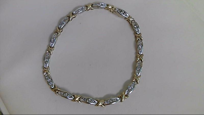 Gold-Diamond Bracelet 45 Diamonds .90 Carat T.W. 10K 2 Tone Gold 8.1g