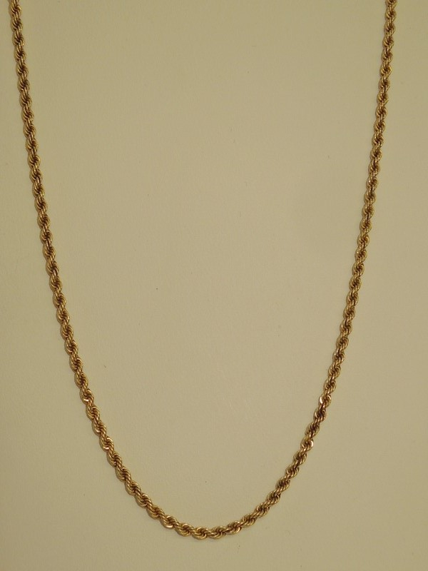 """22"""" Gold Rope Chain 10K Yellow Gold 8.4g"""