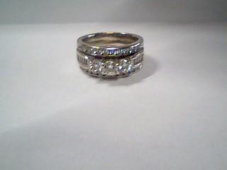 Lady's Diamond Engagement Ring 33 Diamonds 1.35 Carat T.W. 14K White Gold 9.7g