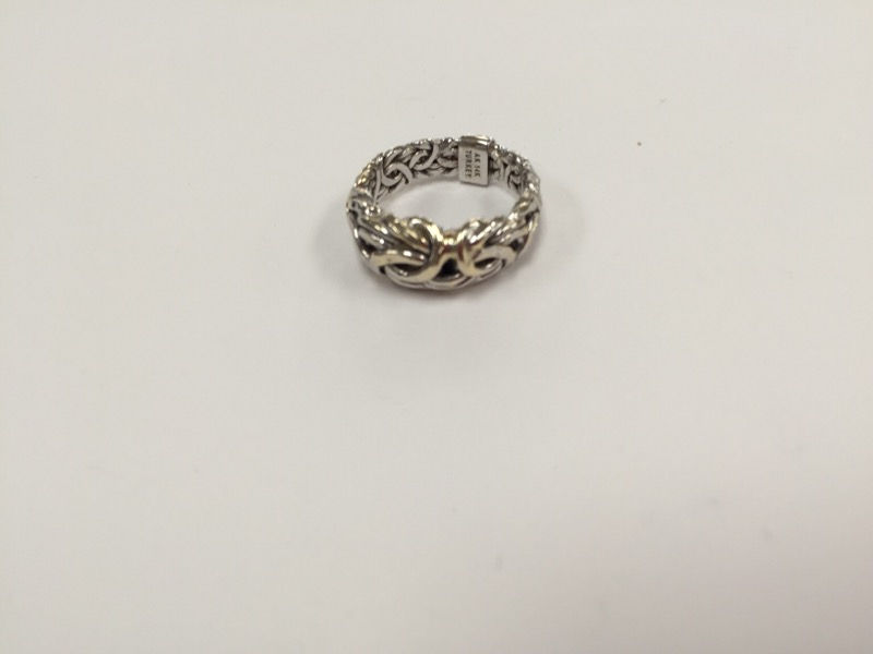 Lady's Gold braided Ring 14K White Gold 3.9g Size:7.8