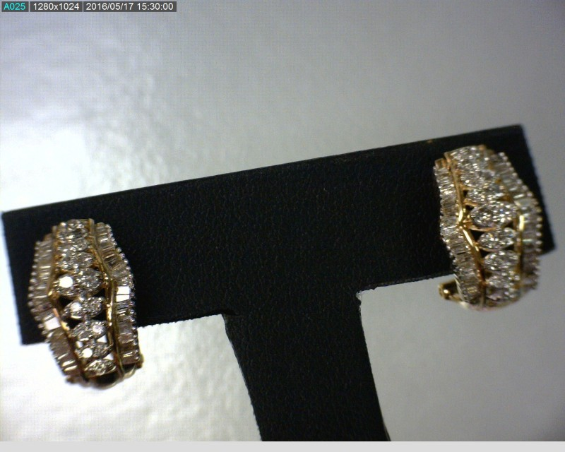 Gold-Diamond Earrings 106 Diamonds 1.84 Carat T.W. 10K Yellow Gold 4.06dwt