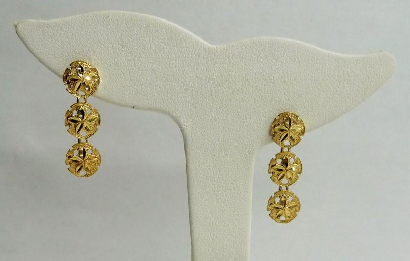 Gold Earrings 14K Yellow Gold 1.65dwt