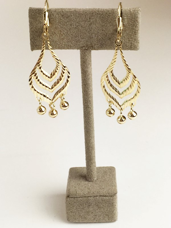 14K YG Chandelier Dangle Earrings 3.86g
