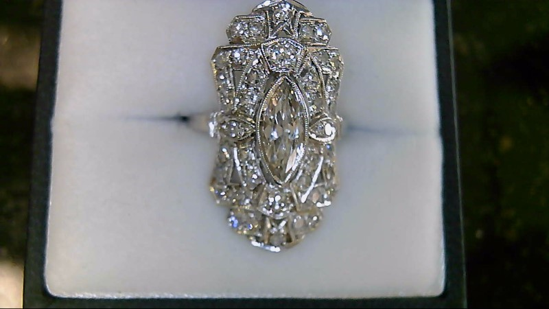 Lady's Platinum Diamond Cluster 42 Diamonds 1.87 Carat T.W. 950 Platinum 5.62g