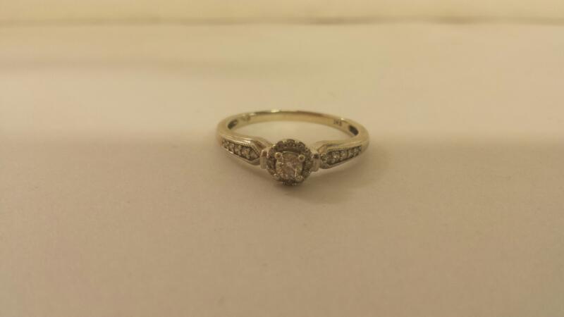 Lds 10K-W/G Diamond Engagement Ring