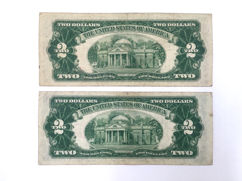 1953-A Red Seal $2 Two Dollar Bills - Double A Seial - Lot of 2