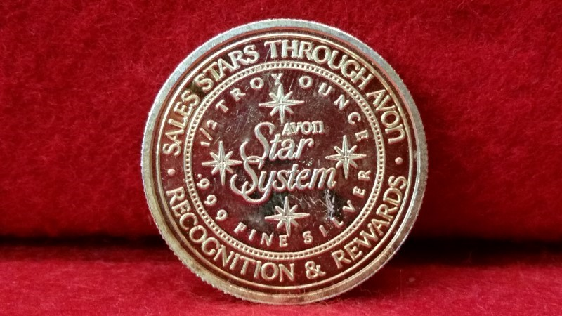 .999 Fine Silver 1/2 Ounce Round - Avon Star System Gold Plate