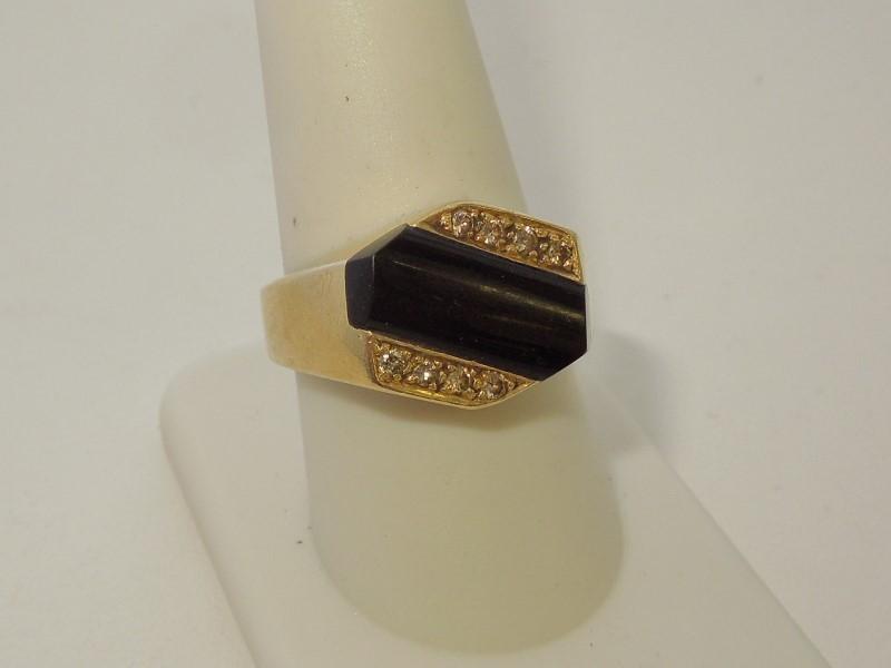Synthetic Onyx Gent's Stone & Diamond Ring 8 Diamonds .08 Carat T.W.