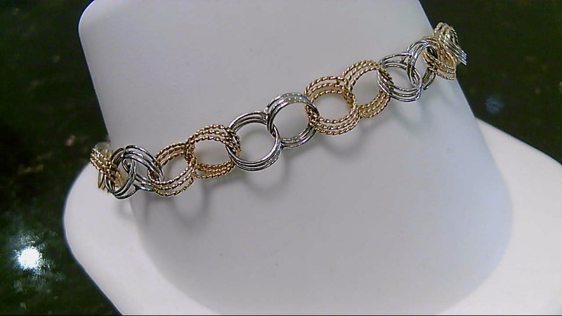 """7"""" 14K Two Tone Gold Link Bracelet 5.3G"""
