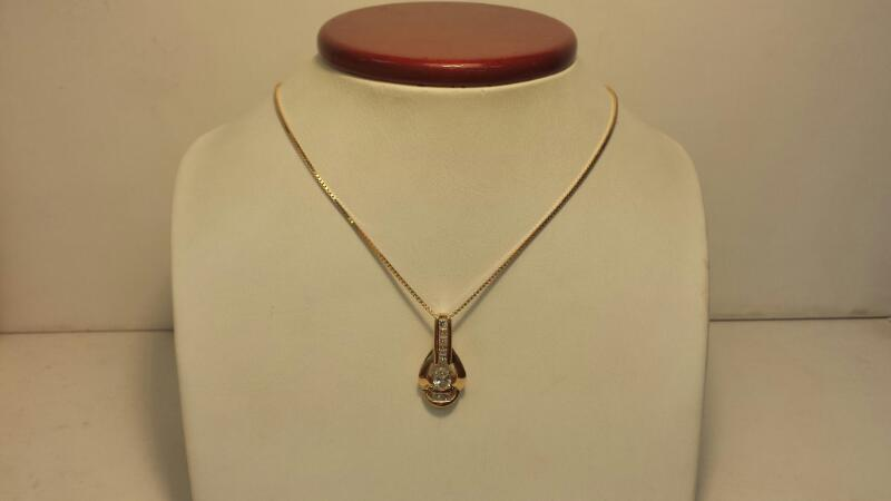 14k Yellow Gold Necklace and Pendant with 8 Diamonds at .90ctw - 5.2dwt