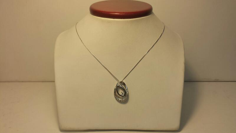 14k White Gold Box Chain and Pendant with 11 Diamonds at .23ctw - 2.7dwt