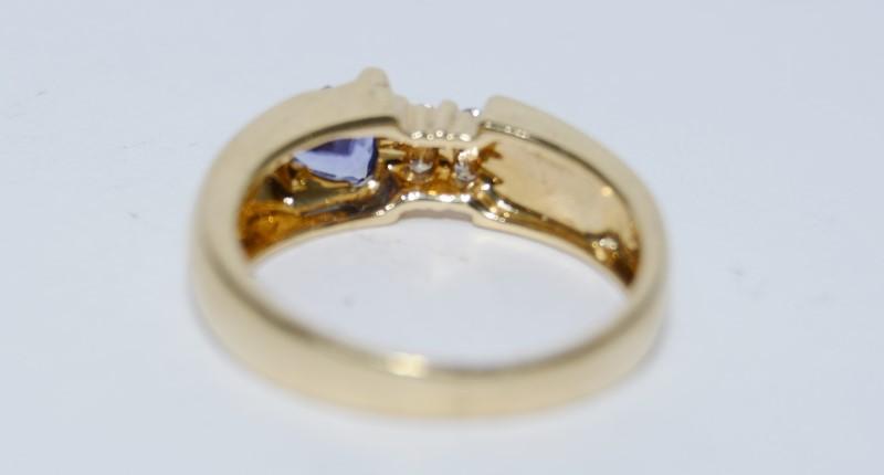 14k Yellow Gold Trillion Tanzanite, Austrailian Opal, & Diamond Ring