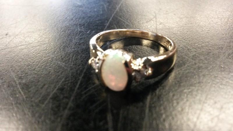 14KYG_2.6DWT Synthetic Opal Lady's Stone & Diamond Ring