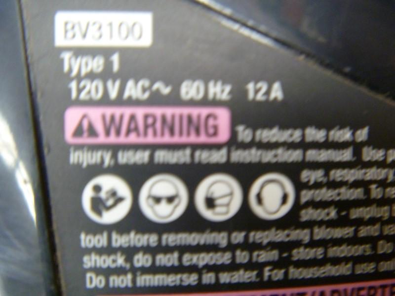 BLACK & DECKER BV3100 12-AMP 300-CFM 210-MPH SWEEPER CORDED ELECTRIC LEAF BLOWER