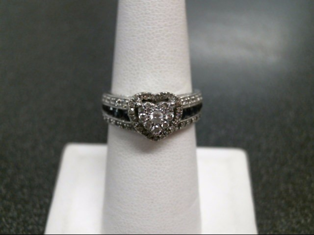 Blue Stone Lady's Silver-Diamond & Stone Ring 58 Diamonds .67 Carat T.W.