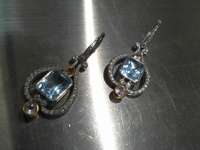 Synthetic Aquamarine Gold-Stone Earrings 18K White Gold 11.3g