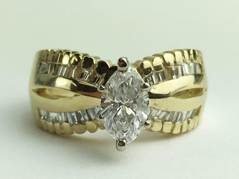 Lady's Diamond Engagement Ring 25 Diamonds 1.03 Carat T.W. 14K Yellow Gold