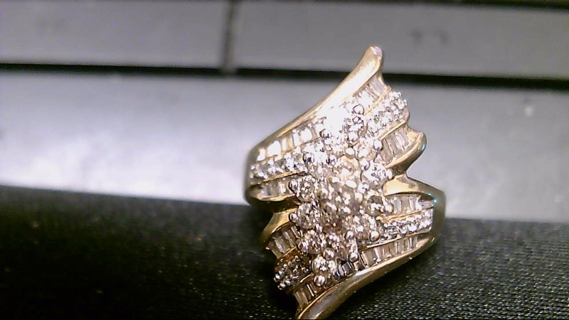 Lady's Diamond Cluster Ring 73 Diamonds 1.45 Carat T.W. 10K Yellow Gold 7.2g