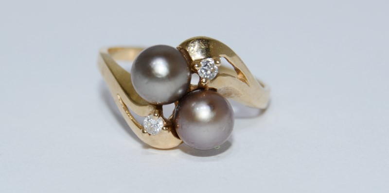 14K Yellow Gold Bypass Shank Double Chocolate Brown Tahitian Pearl Diamond Ring