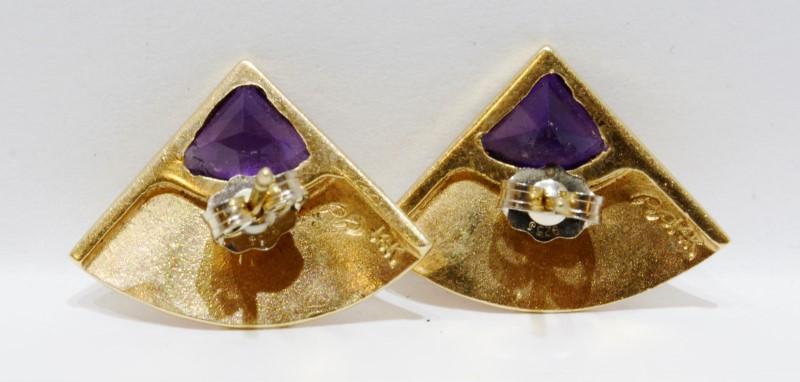 14K Yellow Gold Asian Inspired Folding Hand Fan Trillion Cut Amethyst Earrings