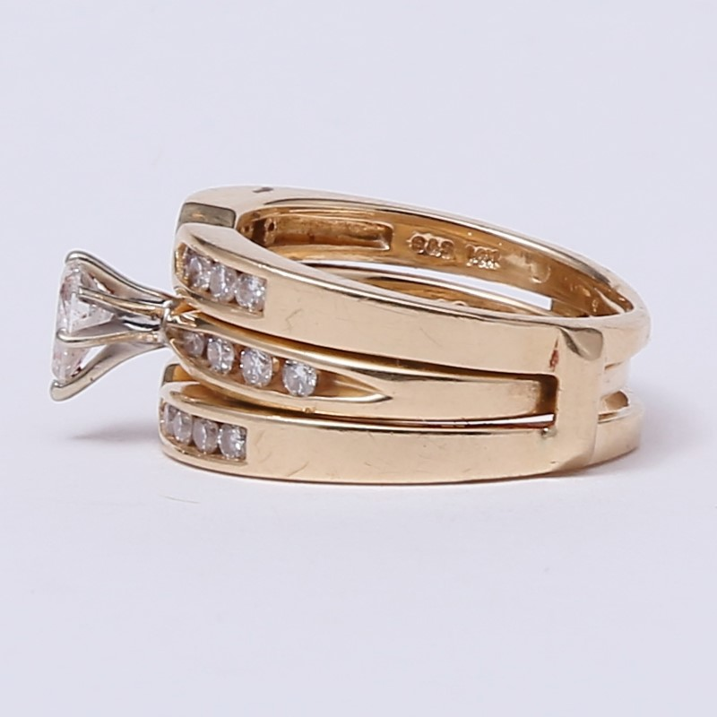 14K Yellow Gold Pear and Channel Set Diamond Ring Set Size 7.75 & 7
