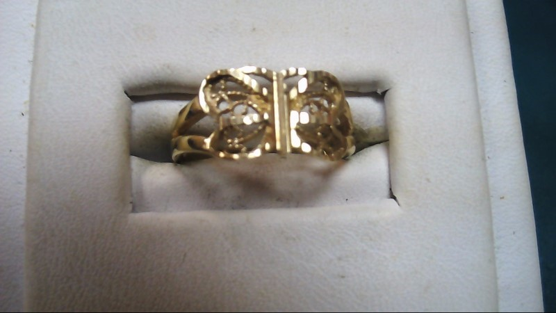 Lady's Butterfly Gold Ring 14K Yellow Gold 1.7g Size:5.5