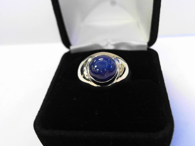 Synthetic Star Sapphire Gent's Stone Ring 14K Yellow Gold 5.1dwt