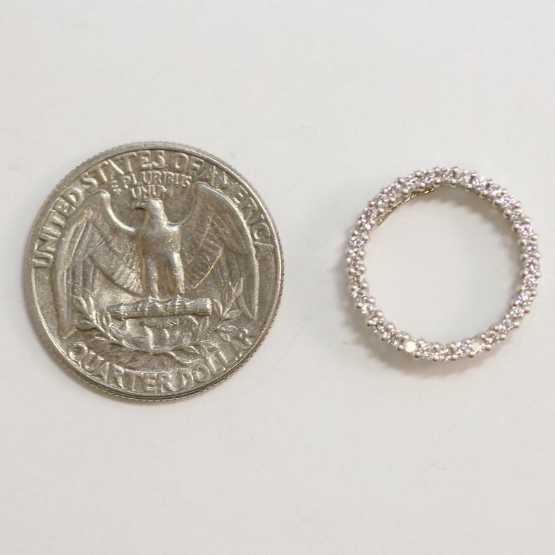 14K W/G Multi Round Brilliant Diamond Pendant W/ Filigree Detail