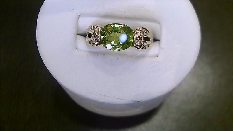 Peridot Lady's Stone & Diamond Ring  14K Yellow Gold