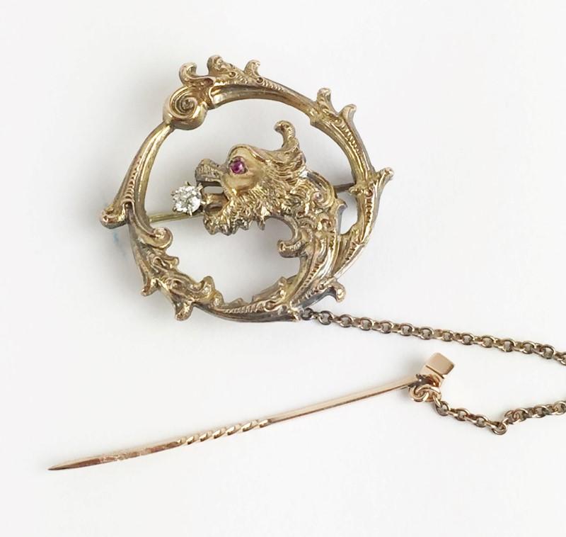 Vintage Dragon Brooch Pin .07 CT. 10K Yellow Gold 9.9g