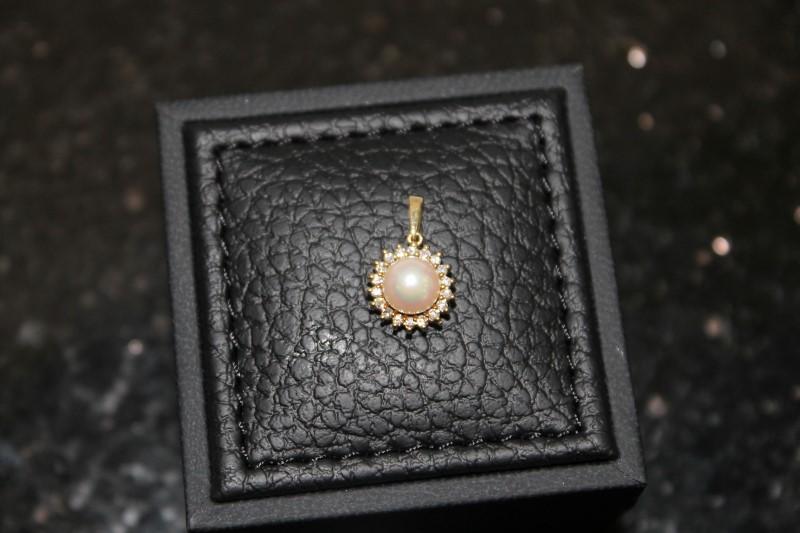 6mm White Pearl Halo Round Diamond Yellow Gold Pendant