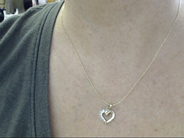 VINTAGE DIAMOND CLUSTER HEART PENDANT CHARM SOLID REAL 10K GOLD LOVE
