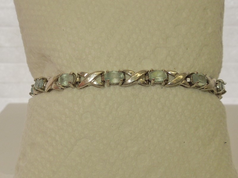 Synthetic Aquamarine Silver-Stone Bracelet 925 Silver 11.8g