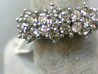 Lady's Diamond Cluster Ring 21 Diamonds 1.05 Carat T.W. 14K White Gold 3.6dwt