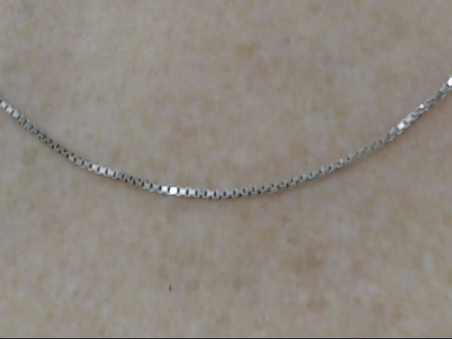 """ESTATE 18"""" CLASSIC BOX NECKLACE CHAIN SOLID REAL 14K WHITE GOLD THIN"""