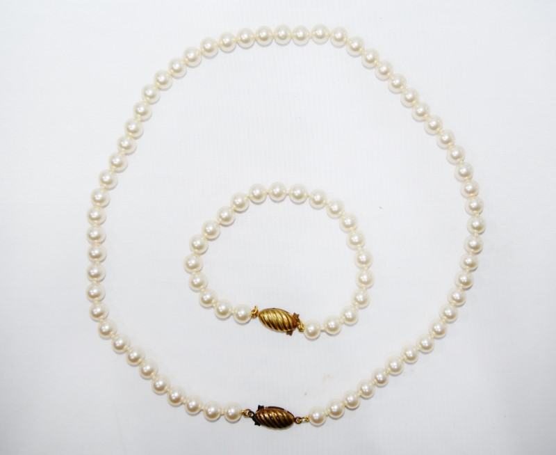 "18"" 7mm Pearl Strand & Matching 7"" Pearl Bracelet Set"
