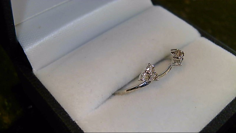 Lady's Gold-Diamond Ring Guard 6 Diamonds .18 Carat T.W. 14K White Gold 1.3g