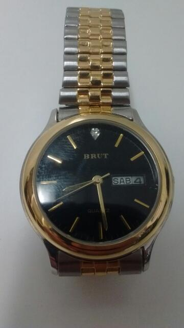 Men's Brut LBX052 Two Tone Stainless Steel Black Face Date Watch (Stretch Band)