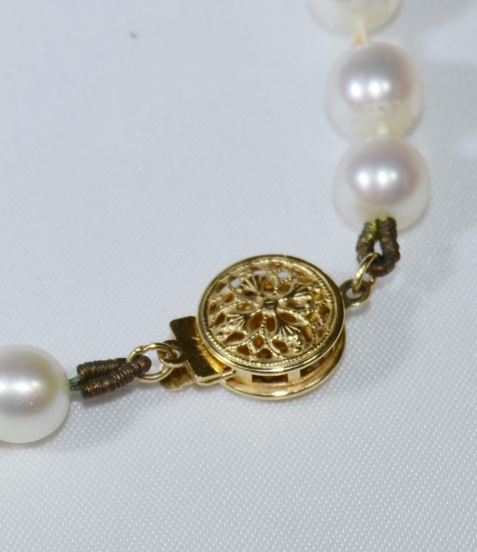 "Stunning 24"" Salt Water 6mm Pearl Strand w/ 14K Yellow Gold Clasp"