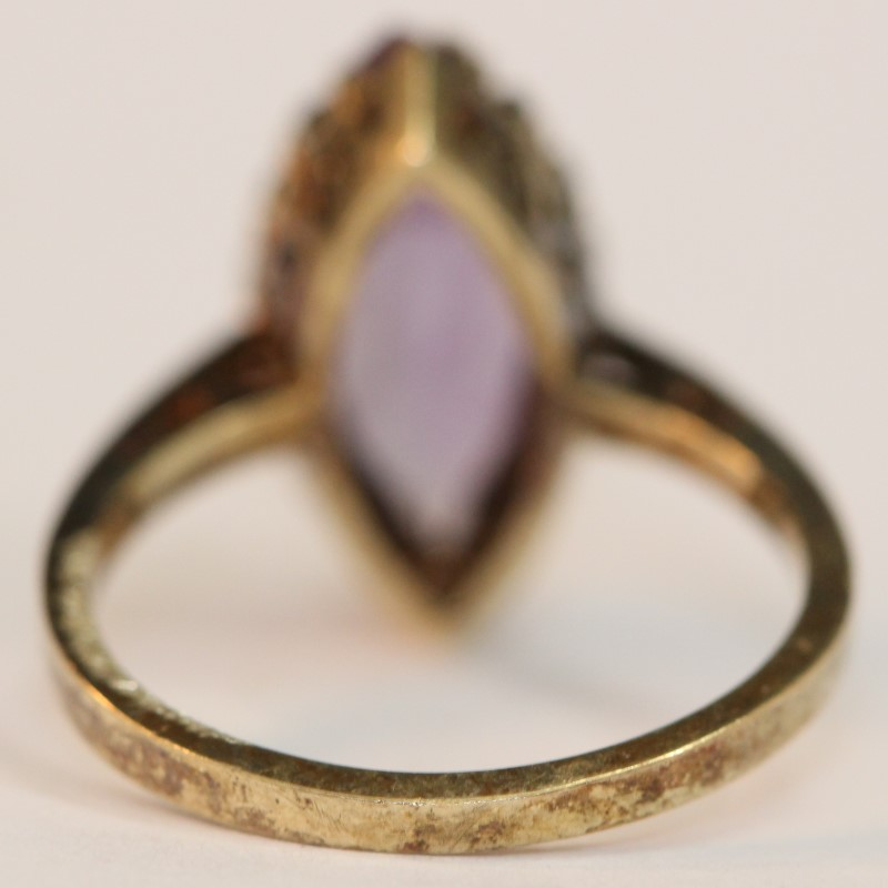 Vintage Inspired Marquise Cut Amethyst Scroll Detailing Ring Size 6