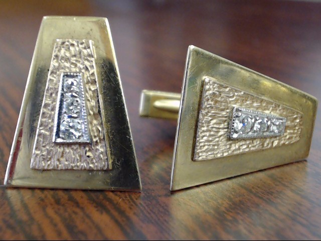VINTAGE DIAMOND CUFF LINKS SOLID REAL 14K GOLD MENS 3 TONE TRAPEZOID