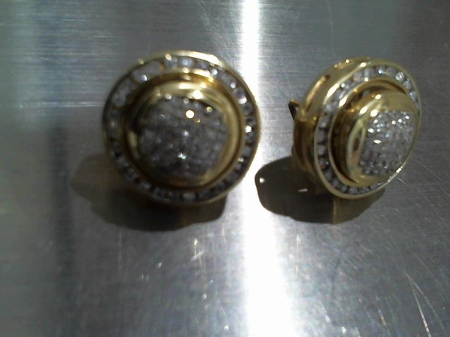 Gold-Diamond Earrings 60 Diamonds .60 Carat T.W. 14K Yellow Gold 9.6g